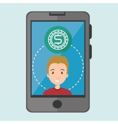 Boy and smartphone and money isolated icon design vector