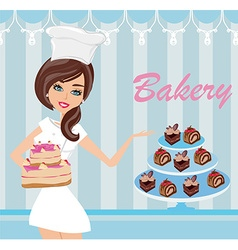 bakery store - saleswoman serving cakes vector image