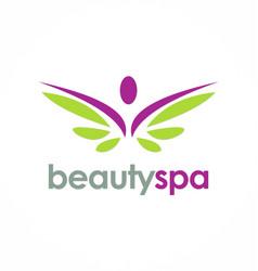 beauty spa wing logo vector image vector image