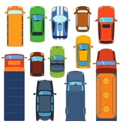 Car top view set vector image