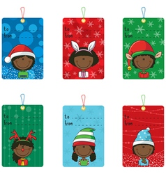 Christmas tags with funny kids vector