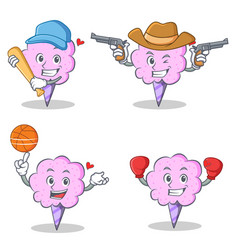 Cotton candy character set with baseball cowboy vector