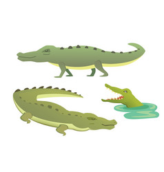 cute crocodile set aligator cartoon vector image