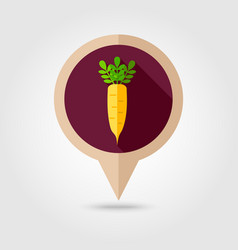 Daikon flat pin map icon vegetable root vector