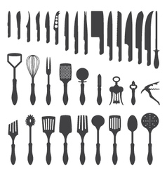 dinner cutlery silhouette set vector image vector image