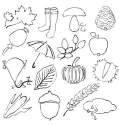 Doodle autumn images vector