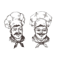 Drawn chef cooks on white background in style of vector image