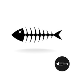 Fish bones simple black flat silhouette logo vector