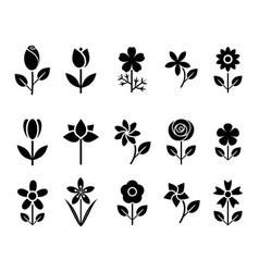 Flower set icons vector