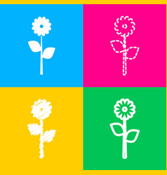 Flower sign four styles of icon on vector