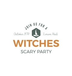 Halloween witches party label template with hat vector image vector image