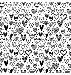 hand drawn seamless pattern with hearts wedding vector image vector image