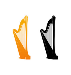 icons of celtic harp vector image vector image
