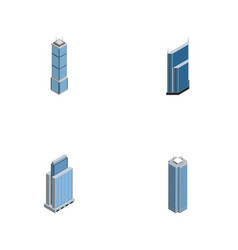 Isometric building set of skyscraper residential vector