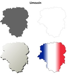 Limousin blank detailed outline map set vector image vector image