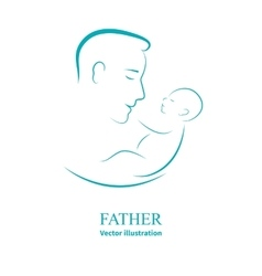 Logo dad and newborn baby vector