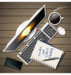 Notebook and computer with mobile phone and coffee vector