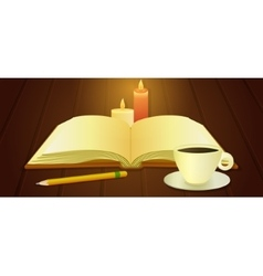 Open book and cup of coffee vector image