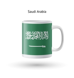 Saudi arabia flag souvenir mug on white background vector