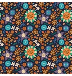 Scandinavian wild flowers seamless pattern vector