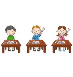 school kids sitting on table vector image
