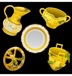 Set of ancient antique golden tableware vector