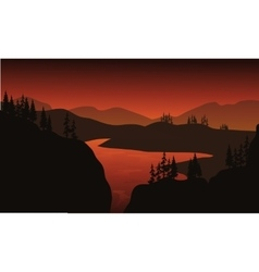 Silhouette of lake with brown backgrounds vector
