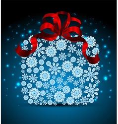 Snowflakes Christmas gift box vector image vector image