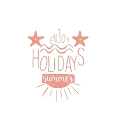 Summer Holidays Vintage Emblem With Stars vector image