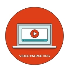 Video marketing outline flat concept vector