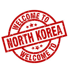 Welcome to north korea red stamp vector