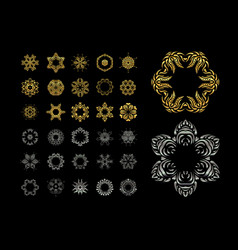ornamental lace pattern set gold silver mandala vector image