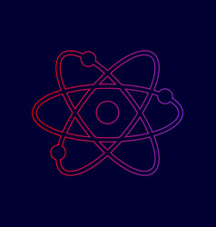Atom sign   line icon with vector