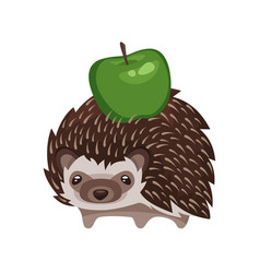 Cartoon style of hedgehog with green apple vector