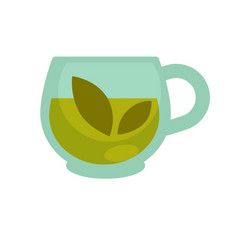 Clear glass cup with brewed green herbal tea vector