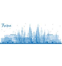 Outline kazan skyline with blue buildings vector