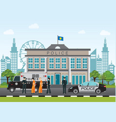 Police station with police officer and police car vector