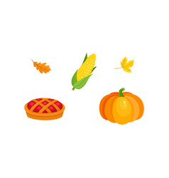 Harvest symbols - pumpkin corn pie fall leaves vector