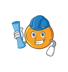 Architect orange fruit cartoon character vector
