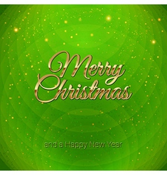 Golden merry christmas headline on green vector
