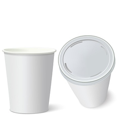 White paper cups isolated on white vector