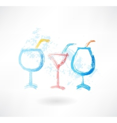 three cocktails grune icon vector image