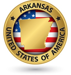 Arkansas state gold label with state map vector