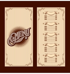 template for the cover of the menu vector image