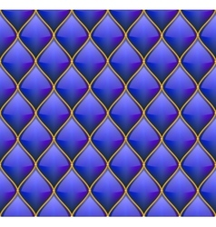 Blue with gold quilted leather seamless background vector