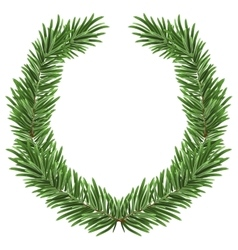 Fir wreath green lush spruce branch fir branches vector