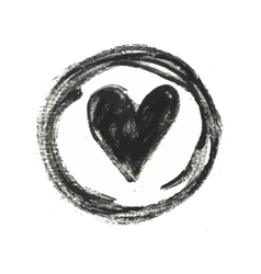 Hand drawn black ink heart stamp vector