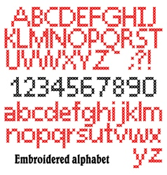 Embroidered alphabet vector