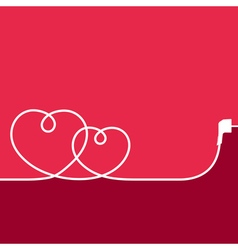 Electric wire in the shape of hearts vector