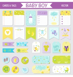 Baby boy shower or arrival set - tags banners vector